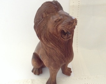 Lion - hand carved wood - Vintage Hawaiian Decor - sculpture - signed - collectible - wooden animal