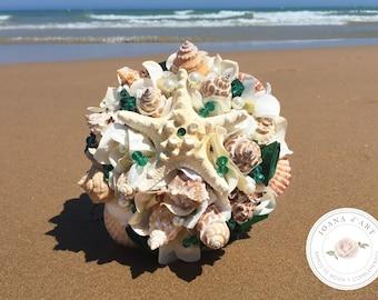 Beach bridal wedding bouquet, Sea shells bridal bouquet, green bouquet, Wedding starfish bouquet, Beach bridal bouquet