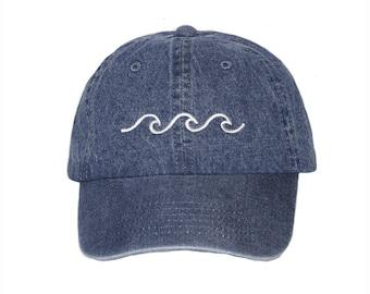 Wave Baseball Cap -  Embroidered Baseball Cap, Unisex Adjustable Cotton Baseball Hat