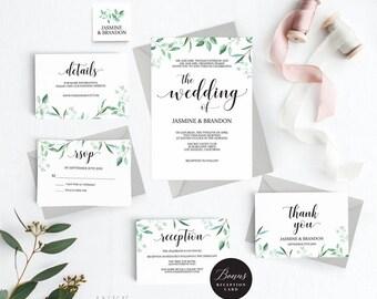 Rustic Wedding Invitation Template, Greenery Wedding Invitation Printable, Greenery Invitation, Cheap Invitation,PDF Instant Download #E031i