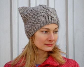 Knit pussyhat project cat hat knit pussycat hat crochet pussy hat women march hat beanie hat cat lover gift women feminist beanie brown hat