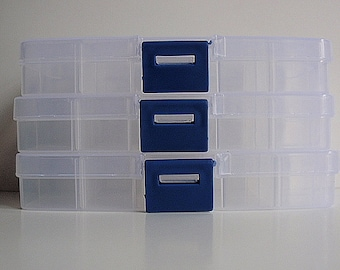 3 Small Plastic Jewelry Storage Boxes, Jewelry Making Supplies, Bead containers, 10 compartments, 6 removable dividers