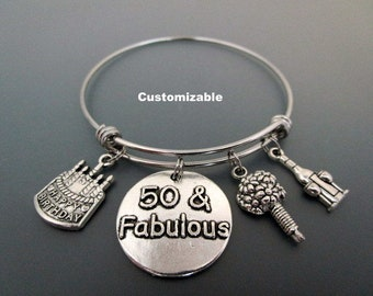 50 and Fabulous / 50th Birthday Charm Bracelet /  Gift For Fiftieth Birthday  / Birthday Charm Bangle / Happy Birthday Charm Bracelet /