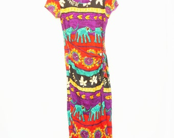 Vintage 80s-90s Elephant Tribal Print Dress /Boho/Bohemian Chic/Ethnic/Hippie