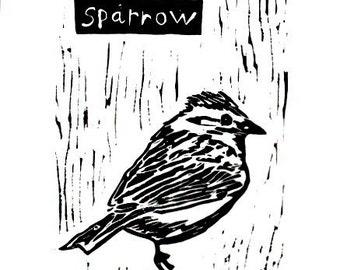 "sparrow linoleum block print - 9"" x 12"" wall art"