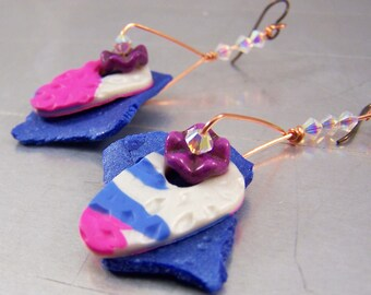 Blue Shard with Fuscia Polymer Clay Shield Earrings