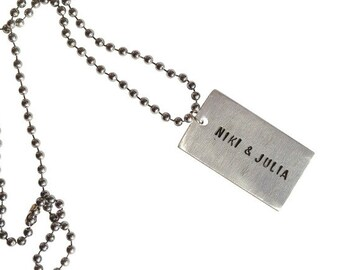 MY TYPE chain M, Id tag, name, saying, text