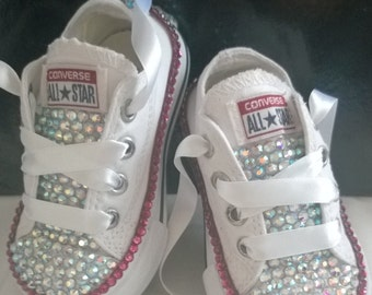 Girls Custom Crystal 3/4  Tongue *Bling* Converse - Infant Sizes 2-10. Various Options Available.