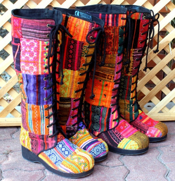 Hmong Up Women's Vintage Vegan Lace Shipping Patchwork Knee Worldwide Anja High in Colorful Tall Boots Free wUqpUXF