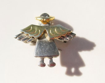Christmas Guardian Angel Brooch Pin Vintage xmas jewelry