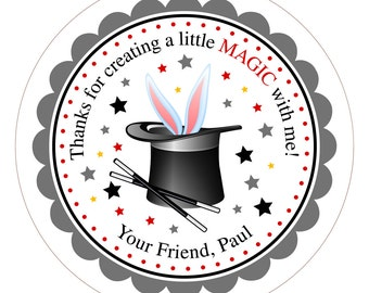 Magic Hat with Bunny . Personalized Birthday Stickers or Tags