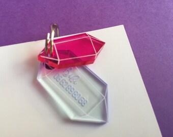 Médaillon pour chat Cristaux quartz - médaille d'identification - pierres précieuses diamant bijou cristal quartz