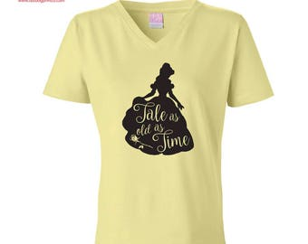 "Beauty and the Beast Belle Disney ""Tale as old as time"" V-neck T-shirt"
