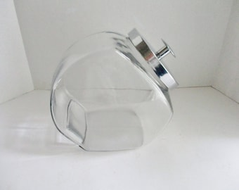 Vintage Candy Jar General Store Glass Jar Slant Jar with Lid Cookie Jar