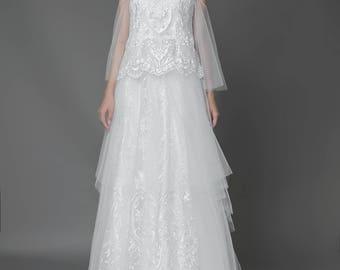 Bohemian lace wedding dress, Custom Made Wedding Dress, Boho wedding dress, Boho Lace  gown, off-shoulder Bohemian gown, wedding dress
