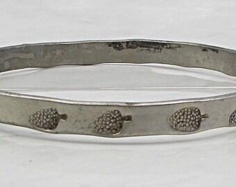 Mexico 925 silver - vintage exotic fruit pattern 5mm bangle bracelet b1030