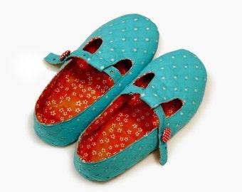 Slippers sewing pattern (5 - 9),ballet flats pattern,shoe pattern, with adjustable straps,beginner pattern,easy pattern  -- PDF pattern