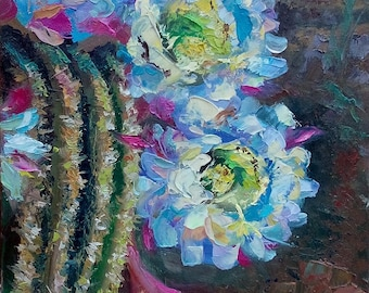 Picture Floral Fine Art Original Oil Painting- Cacti Flowers  Home Decor