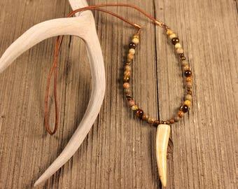 Deer Antler Necklace-Antler Jewelry-Antler Tip Leather Necklace-DesignsInAntler-Beaded Antler Necklace