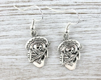 Skeleton Mariachi Earrings ~ Day of the Dead ~ Guitar