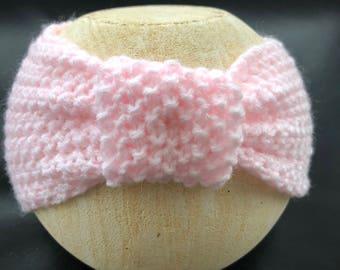 Baby headband, hand knitted headband, baby shower gift, baby fashion, pink headband.