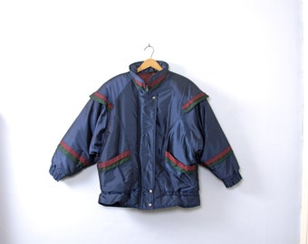 Vintage 80's navy blue puffy coat, women's size medium