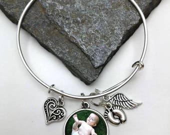 Loss of Baby Bracelet, Photo Memory Bracelet, Memorial Charm Bracelet, Sonogram Bracelet, Ultrasound Bracelet