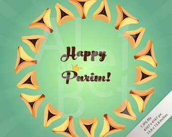 Jewish holiday card etsy jewish holiday of purim greeting card with traditional hamantaschen cookies and with text happy purim m4hsunfo