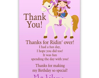 Cowgirl Thank You Card - Purple Brunette Girl Western Cowgirl, Horse Pony Personalized Birthday Party Thank You - a Digital Printable File