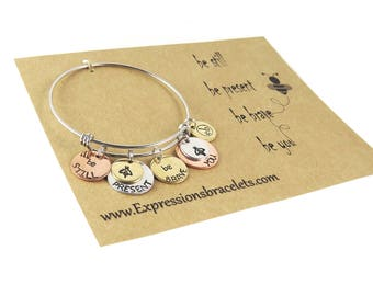 Ready to Ship - Hand Stamped Charm Bangle | Be Still | Be Present Mantra Bangle  - Gift for Her Jewelry - Expressions Bracelets Unique Item