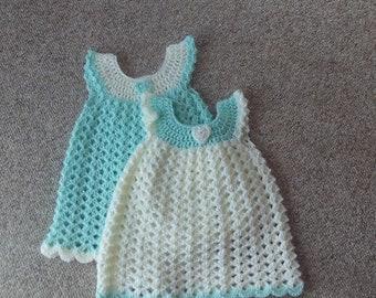 Twins,Dress,Girls,Newborn-3Months,Gift,Photo's,Babies,Infants,Teal,Cream,Crocheted