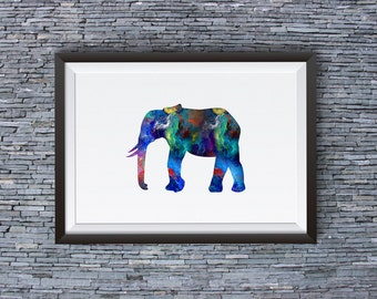Colorful Elephant Print - Art Poster - Animal Illustration - Wall Art - Home Decor