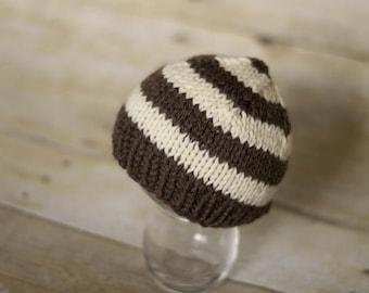 Soft Baby Hat, Striped Baby Hat, Baby Beanie Hat, Newborn Photo Prop Hat, Photo Prop Striped Beanie, Newborn, Brown, Cream - Ready to Ship