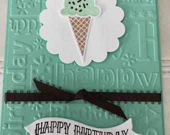 Green mint chocolate chip ice cream cone birthday card