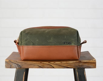 Waxed Canvas and Leather Toiletry Bag Leather Dopp Kit | Personalized Groomsmen Gift for Him Mens Toiletry Bag  | Monogram Leather Dopp Kit