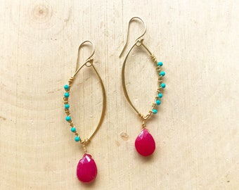 Pink Chalcedony and Turquoise Drop Earrings