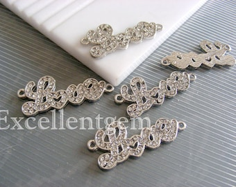 3pcs Silver plated with clear rhinestone Pendant in LOVE shape