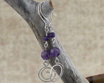 Natural Amethyst with Sterling Silver Spiral Dangle Earrings