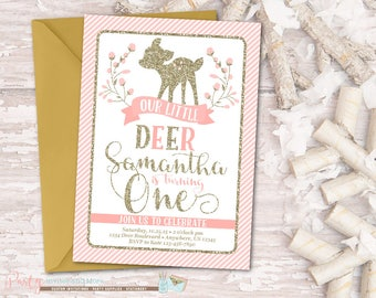 Deer Birthday Invitation, Deer Invitation, Little Deer Invitation, Woodland Birthday Invitation, Woodland Invitation, Pink and Gold, Glitter