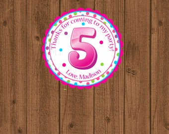 5th Birthday Favor Tag, Fifth Birthday Favor Tag, 5th Birthday Party, Girls Birthday Party Tag