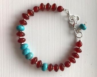 Agatha Bracelet de turquoise et agate cornaline rouge