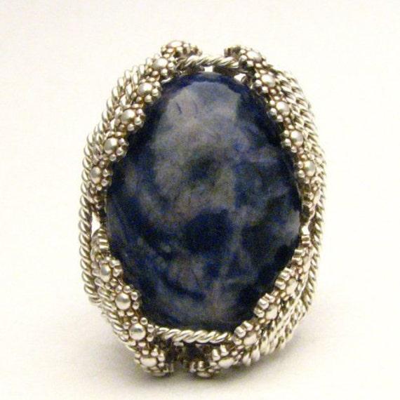 Handmade Sterling Silver Berry Wire Wrap Blue Sodalite Gemstone Ring