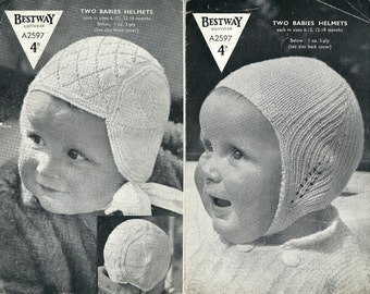 Bestway A2597 Vintage Knitting Pattern Original for Two Baby Helmets Bonnets