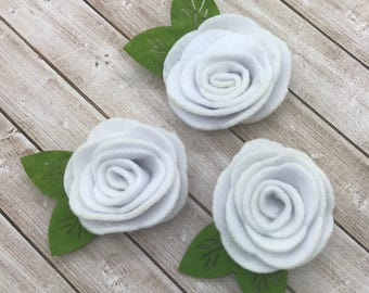 "2"" felt rosette with leaf, white felt rose flowers, small felt flowers, DIY headband supplies, vintage flower supply, wholesale flowers felt"