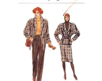 80s Wrap Jacket, Skirt, Pants Pattern Vogue 9449 Dolman Sleeve Jacket Notched Collar Trousers Size 6 8 10 Vintage Sewing Pattern