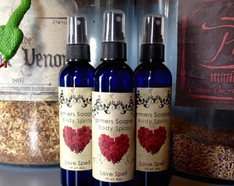 Love Spell Scented 4oz Body Spray Sweet & Fruity Spray Body Spritz Fragrance Hair Conditioner Spray Perfume Scented Body Mist