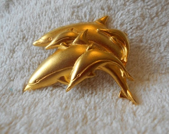 Mali signed dolphin pin, gold tone 5 dolphin brooch