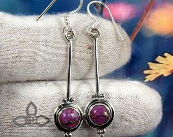 Purple Turquoise Earring, Purple Turquoise, Dangle Earring, 925 Silver Earring, Fine Silver Earring, Turquoise Silver Earring, Jewellery