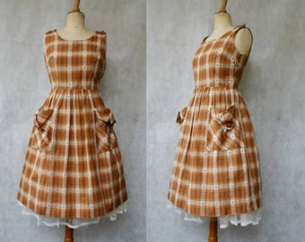 1950s Checked Pumpkin Dress with Pockets