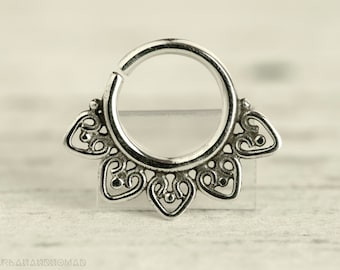 Septum Ring Piercing Nose Ring Body Jewelry Sterling Silver Bohemian Fashion Indian Style 16g 14g - SE013R G1